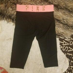 vs pink black crop yoga leggings cheetah band